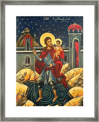 Saint Christopher And The Christ Child Romanian Byzantine Icon Handmade Painting Framed Print by Denise ClemencoIcons