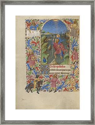 Saint Christopher Carrying The Christ Child Spitz Master Framed Print