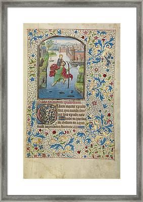 Saint Christopher Carrying The Christ Child Willem Vrelant Framed Print