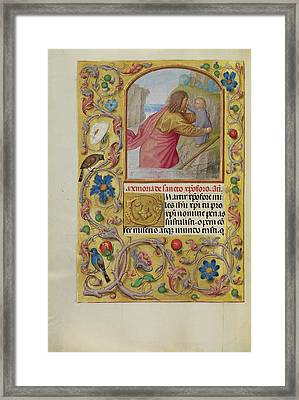 Saint Christopher Carrying The Christ Child Workshop Framed Print