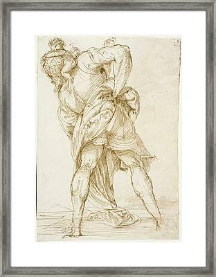 Saint Christopher Domenico Campagnola, Italian Framed Print