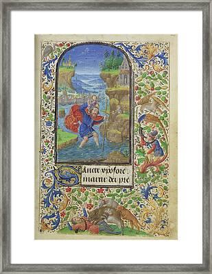 Saint Christopher Lieven Van Lathem, Flemish, About 1430 - Framed Print by Litz Collection