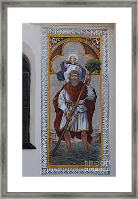 Saint Christopher Mural - Kranj - Slovenia Framed Print by Phil Banks