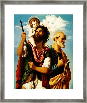 Saint Christopher With Saint Peter Framed Print by Bill Cannon