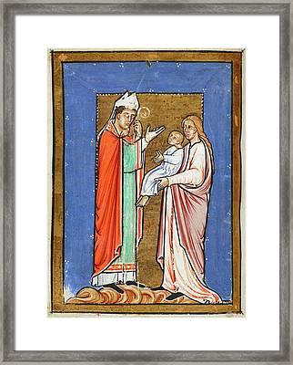 Saint Cuthbert Healing A Child Framed Print