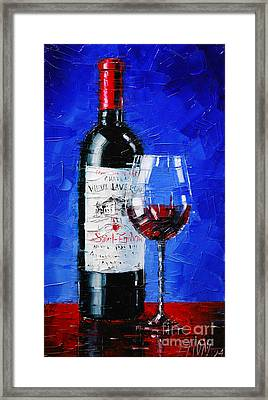 Still Life With Wine Bottle And Glass II Framed Print by Mona Edulesco
