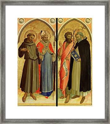 Saint Francis And A Bishop Saint, Saint John The Baptist Framed Print by Litz Collection