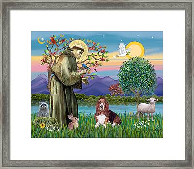 Framed Print featuring the photograph Saint Francis Blesses A Basset Hound by Jean Fitzgerald