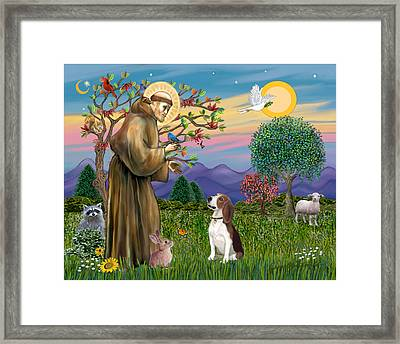 Framed Print featuring the digital art Saint Francis Blesses A Beagle by Jean B Fitzgerald