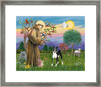 Framed Print featuring the digital art Saint Francis Blesses A Black And White Basenji by Jean Fitzgerald