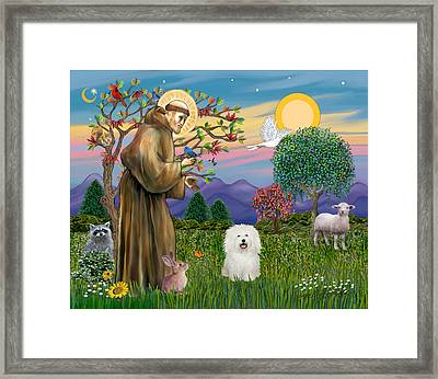 Framed Print featuring the digital art Saint Francis Blesses A Bolognese by Jean B Fitzgerald