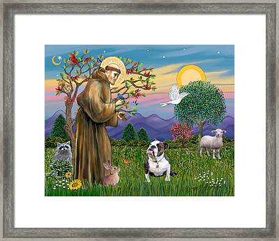 Framed Print featuring the digital art Saint Francis Blesses A Brown And White English Bulldog by Jean B Fitzgerald