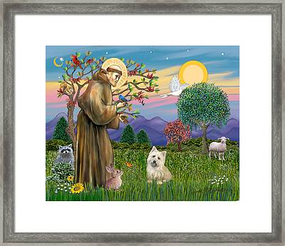 Framed Print featuring the digital art Saint Francis Blesses A Cairn Terrier by Jean B Fitzgerald