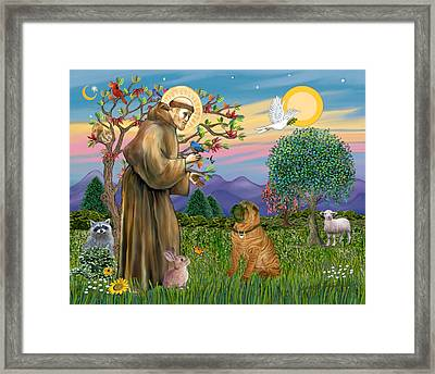 Framed Print featuring the digital art Saint Francis Blesses A Chinese Shar Pei by Jean Fitzgerald
