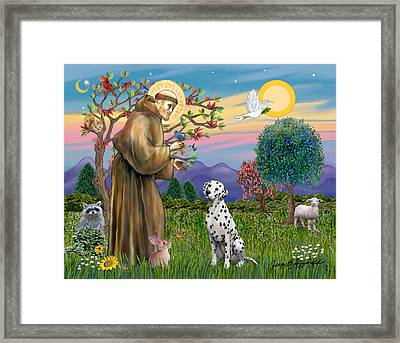 Framed Print featuring the digital art Saint Francis Blesses A Dalmatian by Jean Fitzgerald