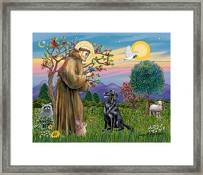 Framed Print featuring the digital art Saint Francis Blesses A Flat Coated Retriever by Jean B Fitzgerald