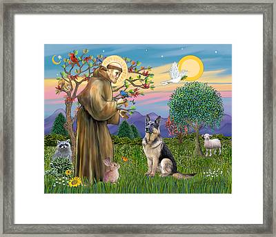 Saint Francis Blesses A German Shepherd Framed Print