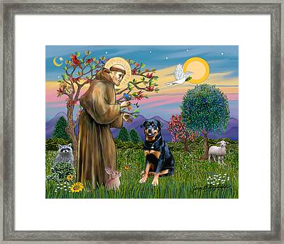 Framed Print featuring the digital art Saint Francis Blesses A Rottweiler by Jean Fitzgerald