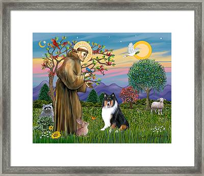 Framed Print featuring the digital art Saint Francis Blesses A Tri Color Collie by Jean B Fitzgerald