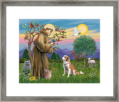 Framed Print featuring the digital art Saint Francis Blesses A Welsh Springer Spaniel by Jean Fitzgerald