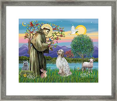 Framed Print featuring the digital art Saint Francis Blesses An English Setter by Jean B Fitzgerald