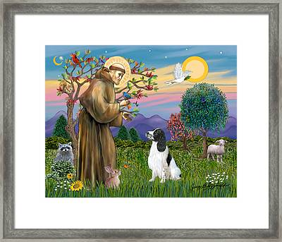 Framed Print featuring the digital art Saint Francis Blesses An English Springer Spaniel by Jean Fitzgerald