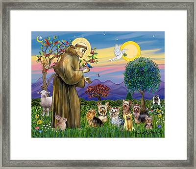Framed Print featuring the digital art Saint Francis Blesses Seven Yorkies by Jean Fitzgerald