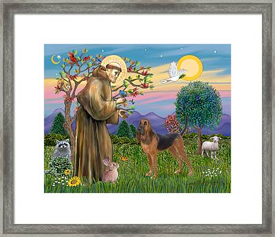 Framed Print featuring the digital art Saint Francis Blessing A Bloodhound by Jean Fitzgerald