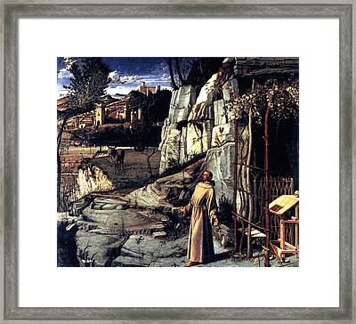 Framed Print featuring the painting Saint Francis In Ecstasy 1485 Giovanni Bellini by Karon Melillo DeVega