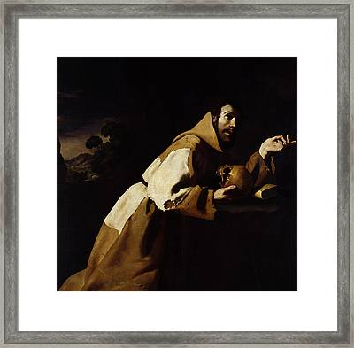 Saint Francis In Meditation Framed Print by Francisco de Zurbaran