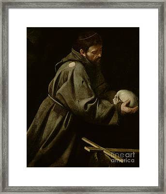 Saint Francis In Meditation Framed Print by Michelangelo Merisi da Caravaggio