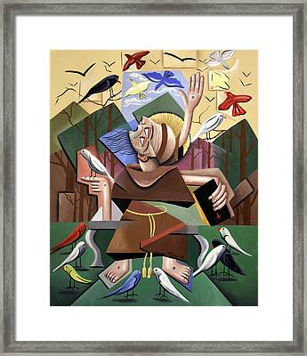 Saint Francis Sermon To The Birds Framed Print