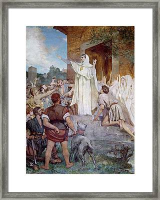 Saint Genevieve Calming The Parisians On The Approach Of Attila Framed Print by Jules Elie Delaunay