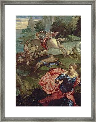 Saint George And The Dragon  Framed Print by Jacopo Robusti Tintoretto