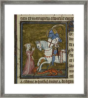 Saint George Riding Over The Dragon Framed Print