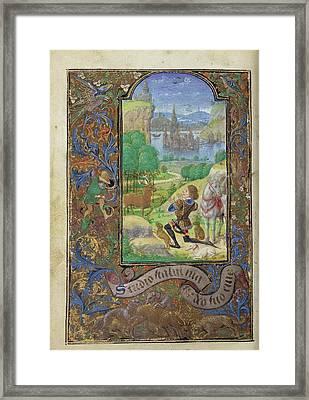 Saint Hubert Lieven Van Lathem, Flemish, About 1430 - 1493 Framed Print by Litz Collection