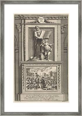 Saint Irenaeus Of Lyons, Church Father, Jan Luyken Framed Print by Jan Luyken And Zacharias Chatelain Ii And Fran?ois Halma