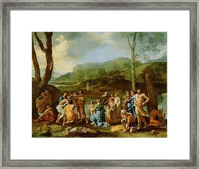 Saint John Baptizing In The River Jordan Nicolas Poussin Framed Print
