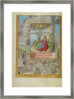 Saint John On Patmos Master Of The Lübeck Bible Bruges Framed Print