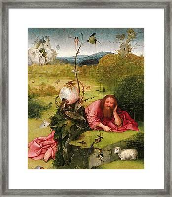 Saint John The Baptist In The Desert Framed Print by Hieronymus Bosch