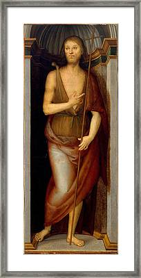 Saint John The Baptist Saint Lucy Framed Print by Perugino