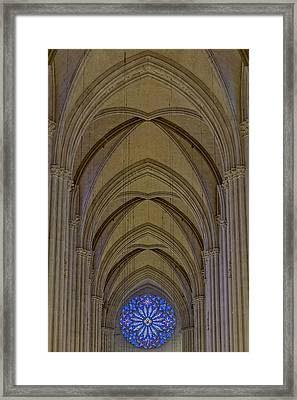 Saint John The Divine Cathedral Arches And Rose Window Framed Print