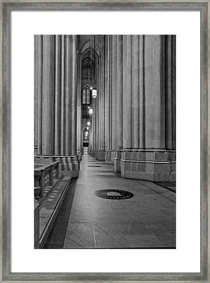Saint John The Divine Cathedral Columns Bw Framed Print