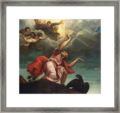 Saint John The Evangelist On Patmos Framed Print by Titian