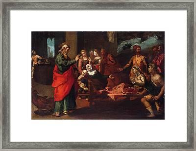 Saint John The Evangelist Reviving Drusiana Framed Print by Andrea Boscoli
