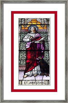 Saint John The Evangelist Stained Glass Window Framed Print by Rose Santuci-Sofranko