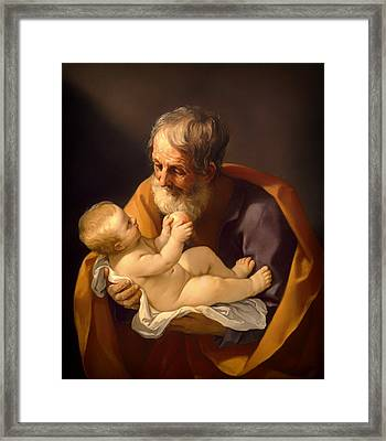 Saint Joseph And The Christ Child Framed Print by Mountain Dreams