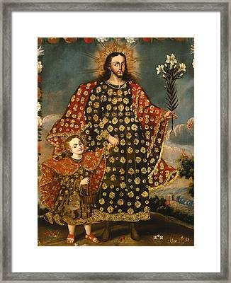 Saint Joseph And The Christ Child Framed Print