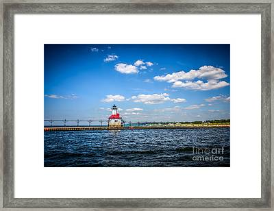 Saint Joseph Lighthouse And Pier Picture Framed Print by Paul Velgos