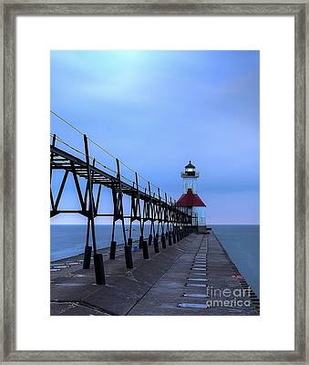Saint Joseph Lighthouse And Pier Framed Print